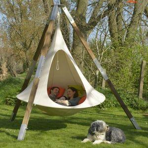 Мебель для лагеря UFO Форма Teepee Дерево Висит Стул для детей Взрослых Внутренний Открытый Открытый Гамака Патио Кемпинг 100см