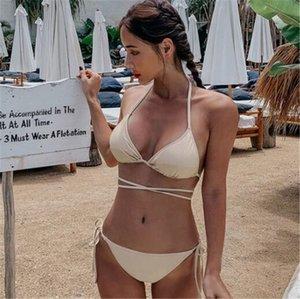 Bikini L0UI Set acolchado Thong Bikinis Mujer Traje de baño Traje de baño Sólido Corte alto Traje Bíbligo brasileño