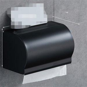 Siyah Kağıt Doku Kutusu Banyo Kağıt Rulo Tutucu Duvara Monte Tuvalet Kağıdı Tutucu Raf Banyo Aksesuarları Doku Tutucu Kutusu 376 R2