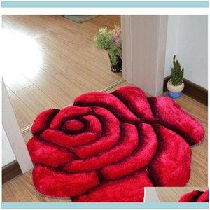 Mats Aessories Bath Home & Garden3D Printed Solid Flower Shape Bathroom Carpet Rugs 70*70Cm Door Pad Floor Mat For Decor Wedding Bedroom Car