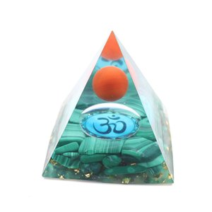 5 Pcs Orgonite Energy Pendant for Gift Malachite Stone and Resin Pyramid 3D Symbol Metaphysical Unique Jewelr