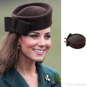 Cappelli da donna a lacrima Cappelli Vintage Look Pillbox Fascinator Hat Top Fancy Lana Felt Hat Cocktail Racing Party Matrimonio Chiesa A253