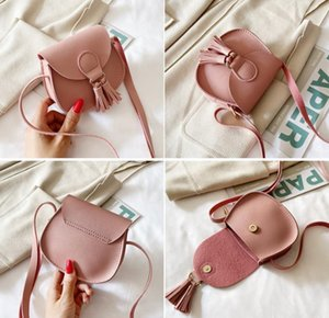 Mini children's bags Purse Korean version of pure color soft surface simple and cute one-shoulder diagonal bag tassel decorative GWD9164