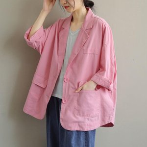 Women's Suits & Blazers Women Cotton Linen Casual Blazer Jackets 2021 Spring Simple Style Solid Color Loose Female Outerwear Coats