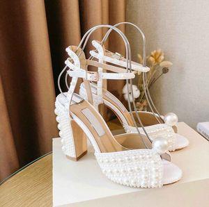 SACARIA Platform Sandals Shoes All-Over Pearl Embellishment Women Sacora Elegant Bridal Wedding Dress Pumps Luxury Brands Lady High Heels