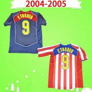 Atletico Madrid jersey # 9 F.Torres 2004 2005 Retro Soccer Jerseys Home Rosso Bianco 04 05 Vintage Camiseta de Futbol Classic Commemorate Camicia da calcio