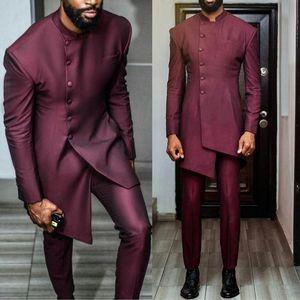 Бургундские африканские мужские костюмы на заказ длинный формальный бизнес лучший мужской куртка Blazer 2 штуки (куртка + брюки)