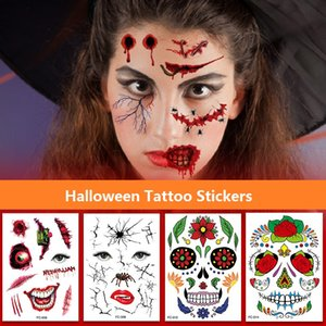 T08 Halloween Temporary Face Tattoos Floral Day of the Dead Sugar Skull Black Skeleton Spider Web Scar Roses FullFace Mask Stickers for Women Men Party Favor Supplies
