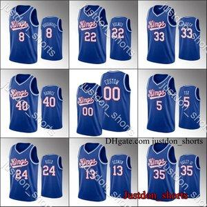 SacramentoroisBasketball Jerseys Mens Deaaron Fox Buddy Hield Marvin Bagley Anniversaire personnalisé Hot Press City New Edition Shirts