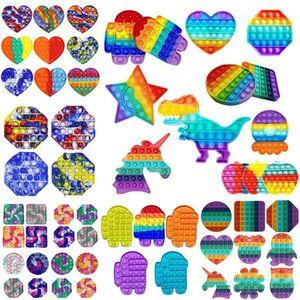 DHL Rainbow Push Fidget Toy Sensory Push Bubble Bubble Fidget Sensory Autism Especial Necesidades Especiales Ansiedad Estrés Alivio para trabajadores de oficina FluoresCen Animales