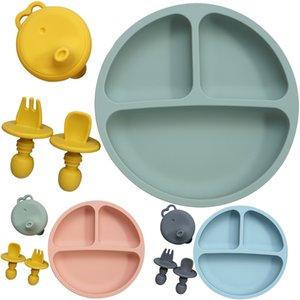 Cosas infantiles Capacitación del bebé Vajilla de silicona Conjunto de la placa de la cena del niño con la succión Cuchara suave y portátil Mini tenedor cuchara. 210317
