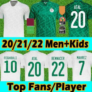 21/22 Algerie Maillot de Football Football Jerseys Jerseys Player Version 2 étoiles Home Blanc Mahrez Bounedjah Bouazza 19 20 Algérie hommes Kits Kids Kits Uniformes S-2XL