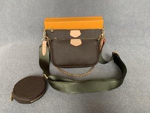 2021 Moda Bolsas Bag Genuine Leather Zipper Bags Mulheres Crossbody Bag Designer 3 em 1 Bolsa Venha com caixa.