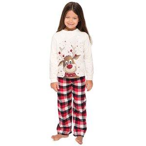 Impressão Pijamas Adorável Sleepwear mangas compridas Família que corresponde Novo Natal Kids Womens Elk Pajama Terno 2020 34wm K2