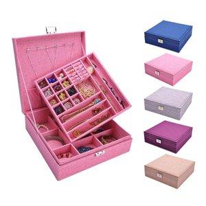 Cajas de almacenamiento BINS Caja de joyería grande para mujeres Earings Collar de 2 capas Pendientes Pendientes Organizador Colgante Regalo