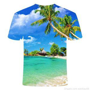 2020 الإبداعية 3d الطباعة الرقمية الأزرق السماء البحر جوز الهند شجرة الشاطئ تي شيرت الصيف جولة الرقبة منعش تي شيرت للجنسين الطفل القميص