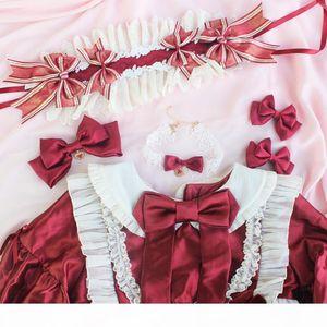 Poupée vintage arc faite main arc à cheveux kc ruban coiffure coiffure collier collier nu lolita design original mignon redwhite
