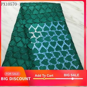 Ribbon African Fabric Green Color Voile Guipure Lace High Quality For Party Wedding 5 Yards