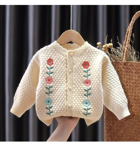 Pullover Girls Sweaters 2021 Spring And Autumn Baby Clothes Coat Korean Style Knit Sweater Cardigan Top Toddler Knitted Coats