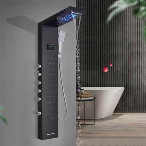 Светодиодная панель для душа колонна черного щеткой никелевой ванны для ванной комнаты ванной комнаты ванной комнаты с экраном температуры