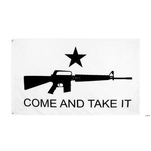 Fábrica direta Atacado 90 * 150cm 3x5fts Gonzales Histórico M4 Carbin Gun Molon Labe Venha e pegue a bandeira HWB5968