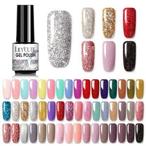 Лак для ногтей LilyCute 7ML УФ-гель Gelter Glitter Pink Color Series Soak Off Art Larnish Design