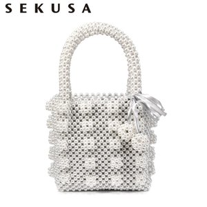 Brand design women beaded handbags with pocket money purse tassel pearl clutch evening bags for party holder case
