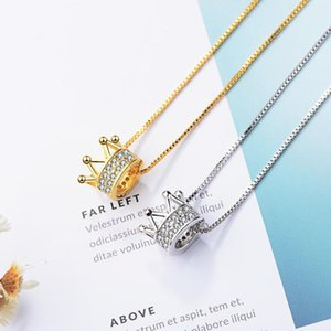 Lockets Queen Crown Lab Diamond Pendant Real 925 Sterling Silver Party Wedding Pendants Chain Necklace For Women Bridal Charm Jewelry