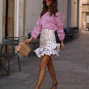 Élégant chic polka dot imprimé froncé asymétrique mini jupe za mode femme jupes occasionnel streetwear jupe femme 210323