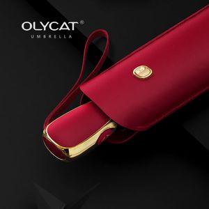 Olycat plat automatique parapluie pluviale femme ultra-léger travel Sun Girls Anti UV Portable pliable 6 côtes parasol