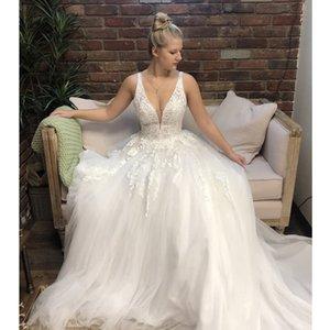 Simple Wedding Dresses Bridal Gowns Lace Appliques A-Line off shoulder Sweep Train Plus Size Customized Vestido De Noiva
