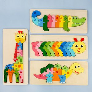 Cartoon Large three-dimensional Jigsaw Puzzle Wooden Block Toys Children's enlightenment early education baby assembly building blocks