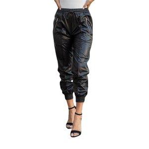 Women's Pants & Capris 2021 Fashion Long Ladies Jeggings Casual Loose High Waist Trousers Women Hip Hop Solid Black PU Leather