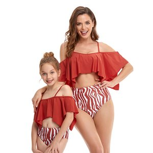 Four-cornered Lotus Leaf Style Parent-child Swimwear Printed High Waist Sandy Beach Bikini Ruffled Swim wear Mother And daughter Swimsuit Swimming Water Sports Spa