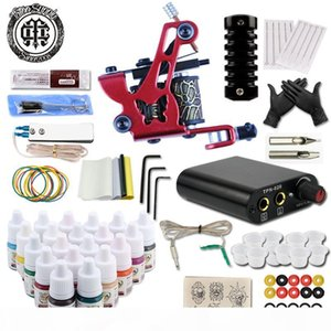New Complete Professional Tattoo Machine Kit Sets Machines gun for Body Art 20 Color Inks Power Supply