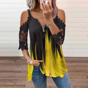 Women's Blouses & Shirts Lace Off Shoulder Women Blouse 2021 Short Sleeves V-neck Elegant Office Shirt