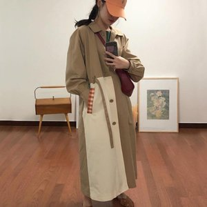 Womens Trench Coats Spring Long-sleeved Turn Down Collar Single Breasted Patchwork Loose Over Knee Windbreaker Overcoat With Belt
