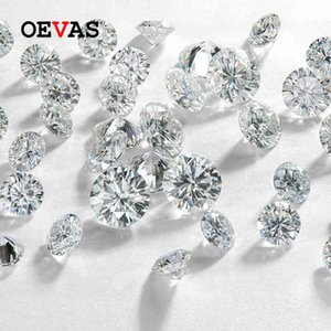 OEVAS Sparkling Real D Color 2 Carats 8mm Moissanite For Rings Earrings Pendant Bracelet Wholseale With Certificate DIY Jewelry 210525