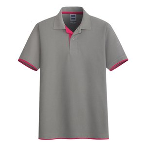 Aoliwen Men Summer Grey 65% ​​Cato Single Stripe Effen Color Bocas Corta Absorbente Polo Polo Polo