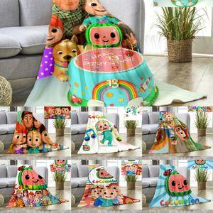 5PCS DHL Cocomelon Blankets Kids Cartoon Flannel Blanket Summer Nap Quilt Bed Sheet Cover Beddings CoCo Melon Carpet Bath Towel G3886HE