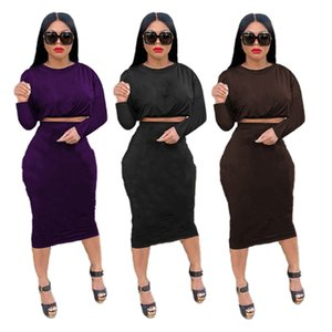 Long Sleeve Two Piece Dress for Women Pullover Crop Top Bodycon Midi Dresses Letter Print Fall Winter Clothing Fashion Female Skirt Sets S-2XL Black Brown Suits 5788