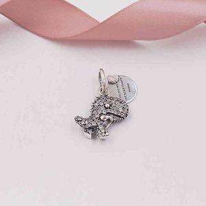 Аутентичные 925 Стерлинговые серебряные бусины стерлингов Pavé Dionosaur Handle Charm Charms Подходит для европейских ювелирных изделий в стиле пиндора