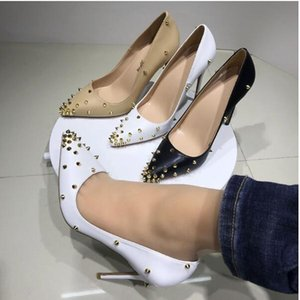 Wholesale femmes hauts talons chaussures grand taille EU34-45 Hauteur 8cm 10cm 12cm Pompes de printemps Été Slip-on orteils pointus Rivets Sandales Rouges Sandales Sandales Mariage Chaussure de mariée Blanc