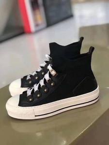 Dior shoes 2021 Son Walk'n'Bique J'A Marka En Kaliteli Bayanlar Yüksek Üst Sneakers Siyah Ve Beyaz Deri Dantel-Up Rahat Ayakkabılar