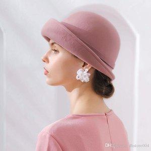 2020 Mejor Fibonacci 2018 Nueva Calidad de Marca Almacenar Floral Fieltro Field Fedoras Otoño Invierno Sombreros Doma Elegante Banquete Fedora Hat