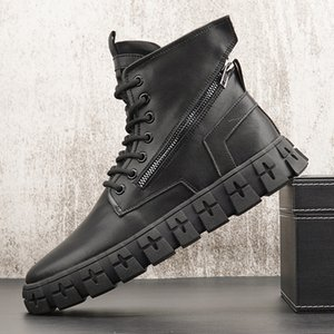 Black White Motorcycle Boots Men Anti Slip Military Shoes Thick Bottom Men Ankle Boots 9#21 20D50