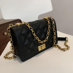 Crossbody решетка квадратная сумка 2021 мода высококачественный PU кожаная женская дизайнерская сумка цепь плечевой мессенджер крест