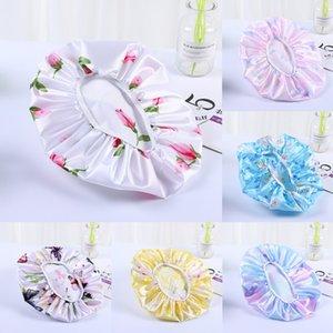 Silky Bath Shower Hat Satin Lace Womens Nightcap Silk Hair Care Bonnet Quick Dry Head Wrap Headband Salon Hairdressing Tools G38GMKY
