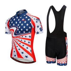 2021 USA Summer Cycling Jersey Set Breathable Team Racing Sport Bicycle kits Mens Short Bike Clothings M086