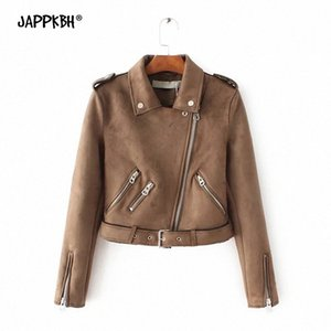 Faux Suede PU Leather Jacket Women 2020 Autumn Winter Zipper Motorcycle Short Coat Female Casual Long Sleeve Vintage Clothing 84Sk#